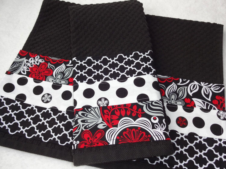Kitchen Towel Set Black White Red Handmade Kitchen Black Towels