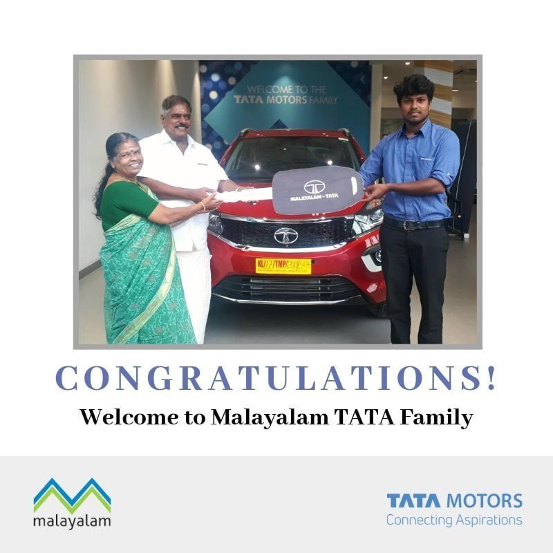 Mrs Sarasu T K Taking Delivery Of Brand New Tata Nexon Malayalam Vehicles Tata Wishes You Safe Riding Call 8113888883 Tata Cars Tata Motors Vehicles