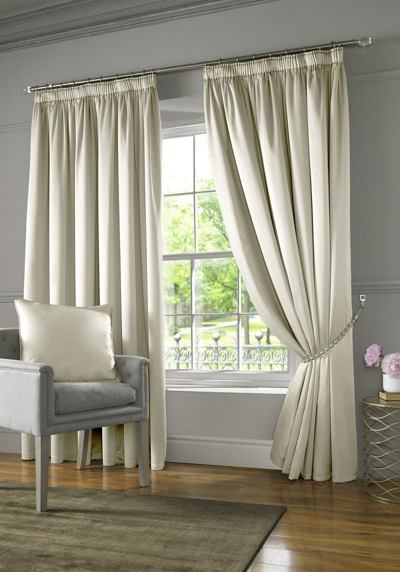 Burj Ready Made Lined Curtains Cream With Images Cream Curtains Silver Curtains Lined Curtains