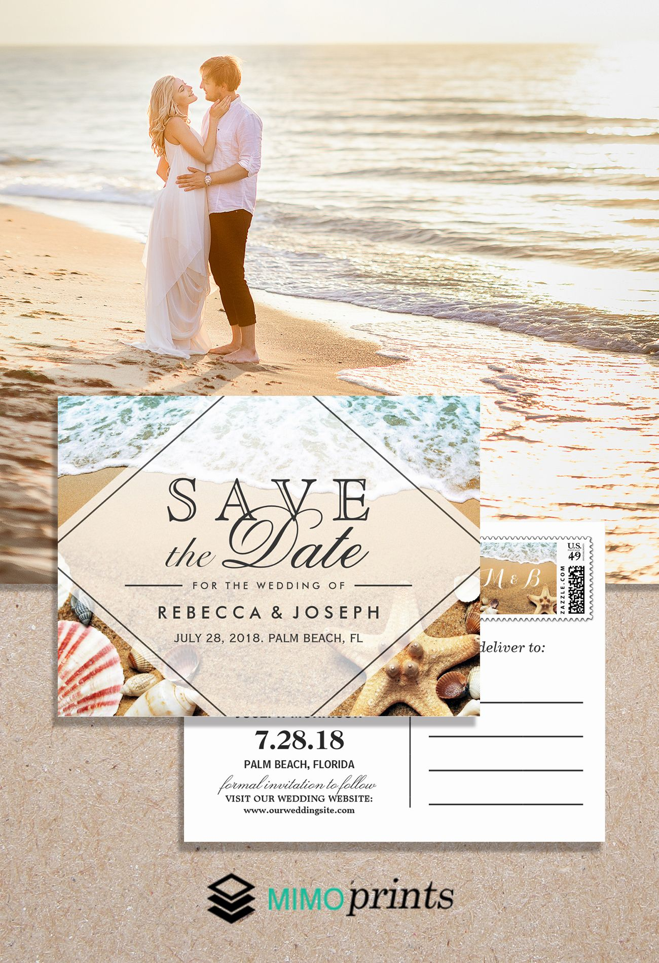 Wedding Invitation Suite Sandy Beach Starfish Seashell Pretty