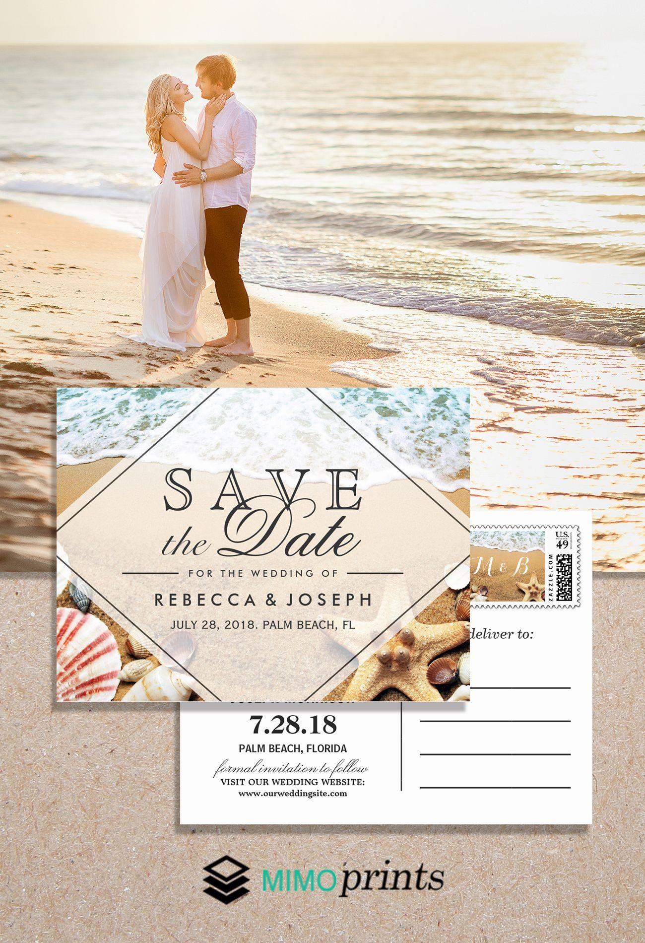 Wedding Invitation Suite Sandy Beach Starfish Seashell Pretty