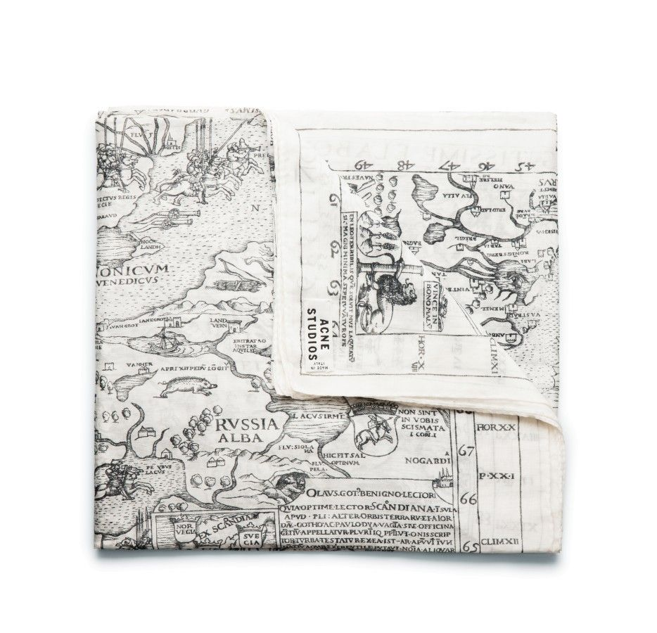 Acne off white columbus unisex scarf features an antique world map acne off white columbus unisex scarf features an antique world map print made a in soft lightweight cotton silk fabric gumiabroncs Gallery