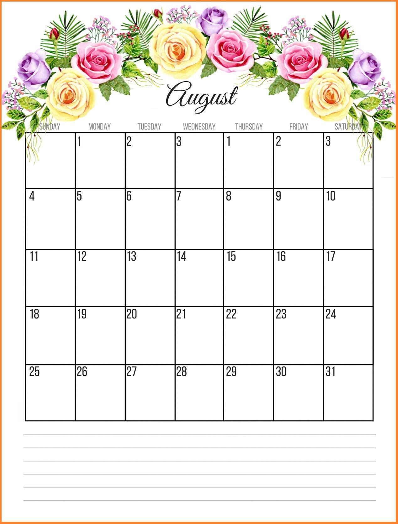 Printable Floral 2019 Monthly Calendar Calendar Printables