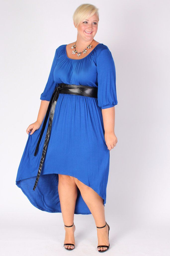 Plus Size Clothing For Women Flowy High Low Dress Blue