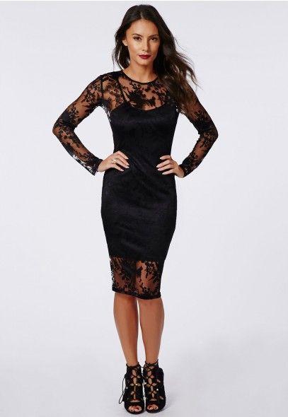 Abi Burnout Lace Long Sleeve Midi Dress Black - Dresses - Midi Dresses - Missguided$56.98