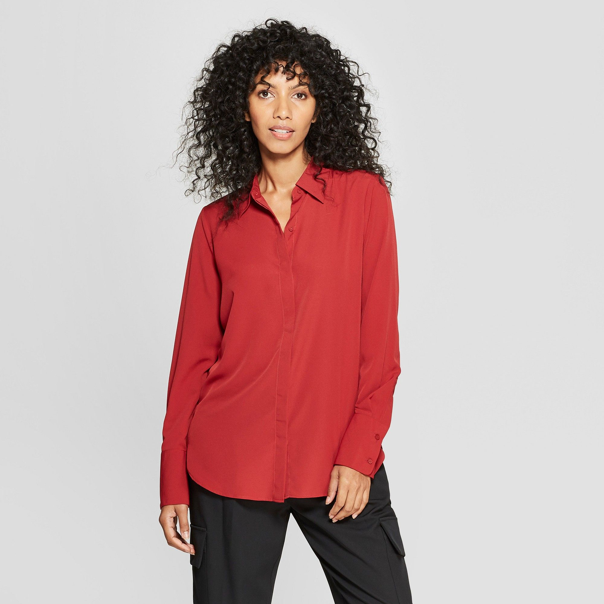c89934b2c Women's Long Sleeve Collared Button-Down Blouse - Prologue Red Xxl ...