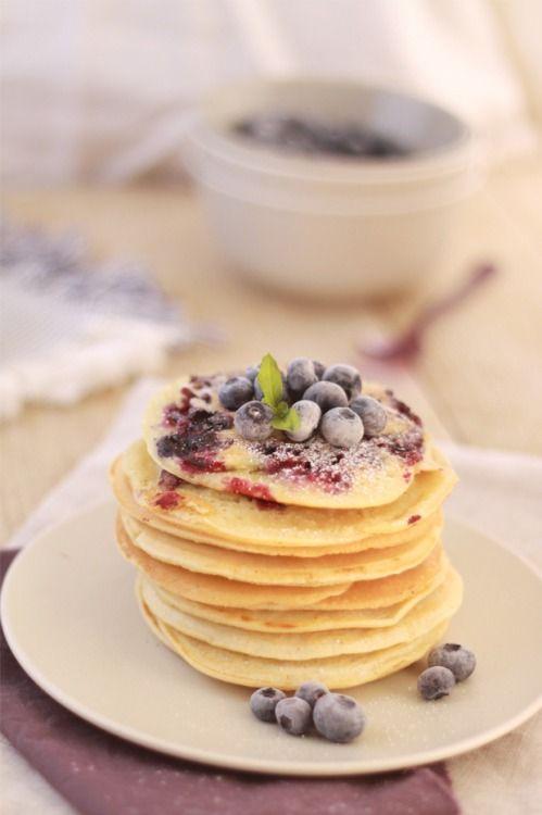 blissful-little-minds:peachy-blisss:  Blueberry Pancakes and Almond Milk  Pastel boho blog