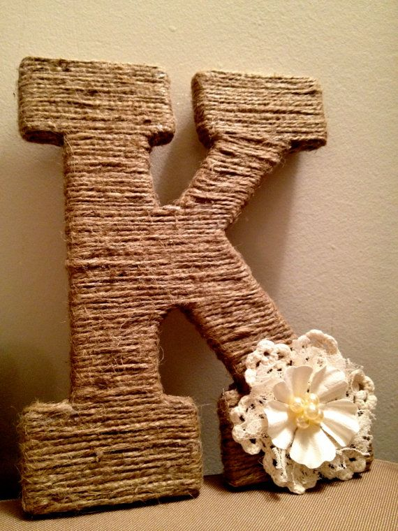 twine wrapped rustic wooden letters with crochet lace pearl flower 2500 per letter