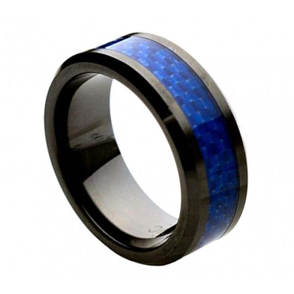 Ceramic Ring with Blue Carbon Fiber Inlay 8mm