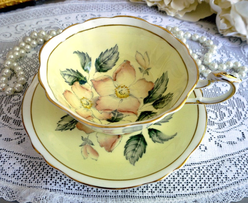 Paragon Yellow Tea Cup and Saucer, Wide Teacup, Pink Wild Roses, Gold Trim, English Bone China, Perfect Gift for Her, 1940s #teacups
