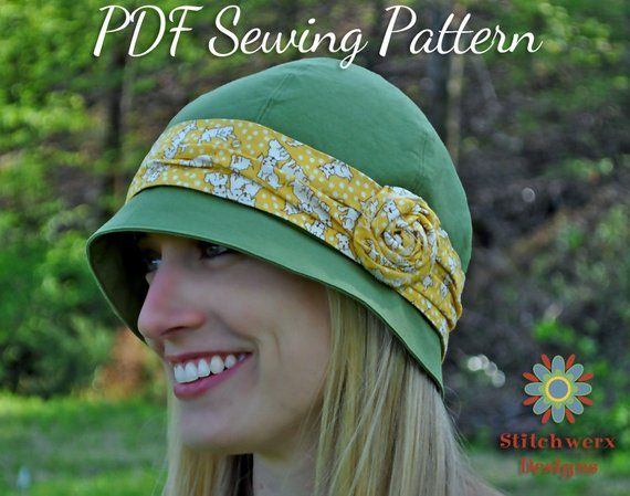 VINTAGE HAT PATTERN, Cloche Hat Pattern, Womens Hat Pattern, Flapper Hat Pattern, Sew Retro Hat, Digital Pdf Sewing Pattern, Tween-Adult