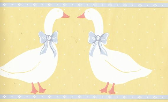 f2adb310e4bce Items similar to Vintage Goose Geese with Bow Wallpaper Border ...