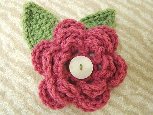 Layered Flower With Leaves By Salena Baca Crochet Use As An Accent