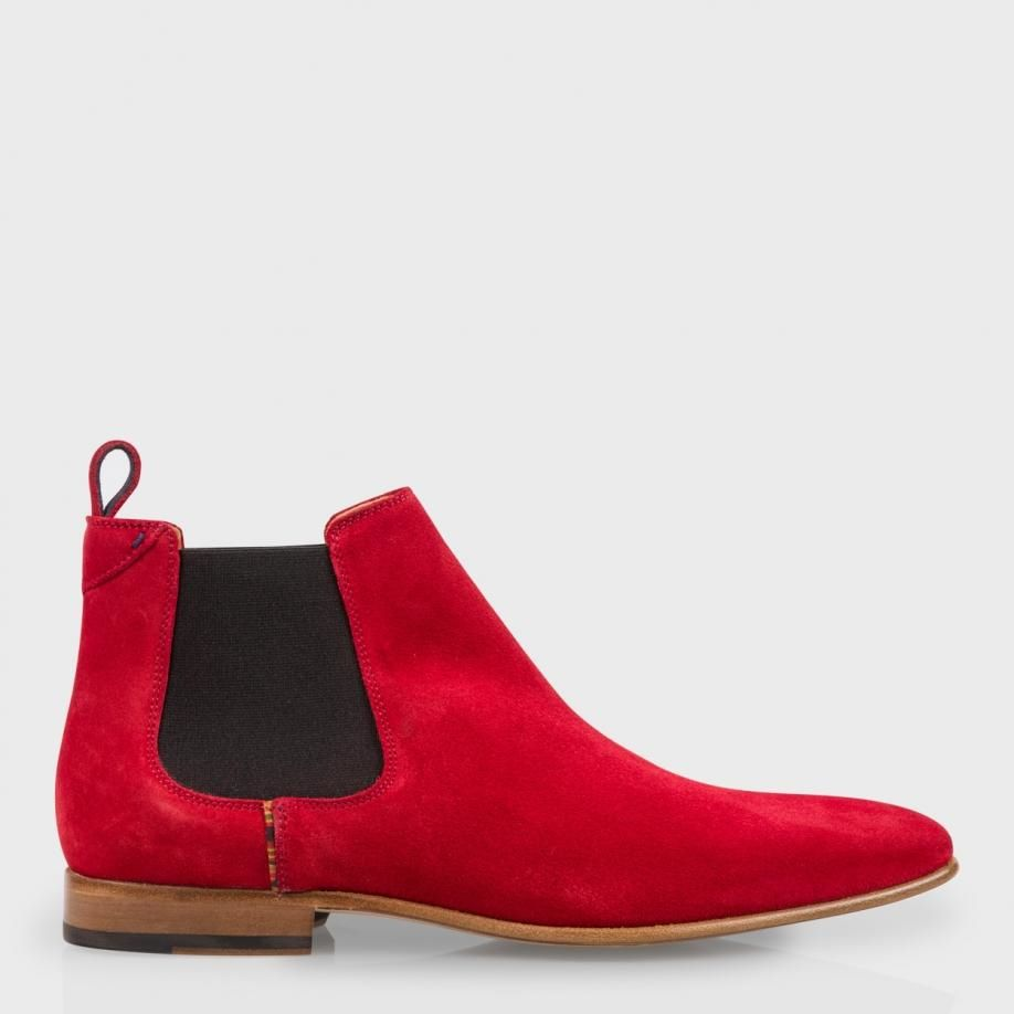 Men's Red Falconer Suede Chelsea Boots | Shoes, Red and Paul smith