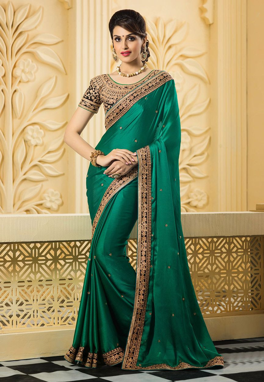 7506245a84d6 Peacock Green Satin Art Silk Saree with Blouse: SMA4482 | Sari ...