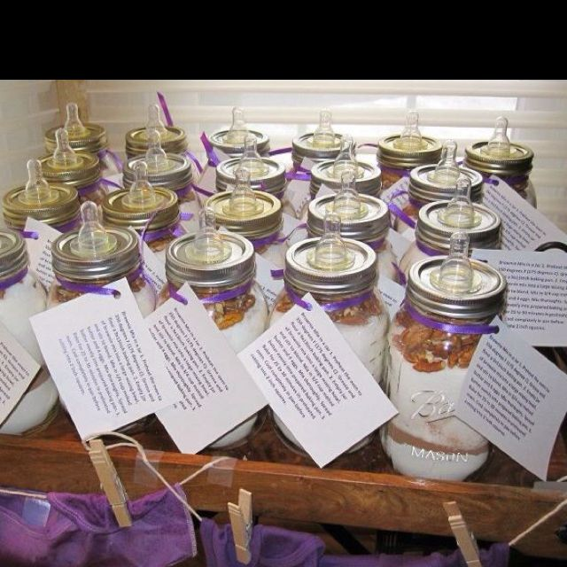 Baby Shower Party Favors.... Brownie Mix in Mason Jars ...