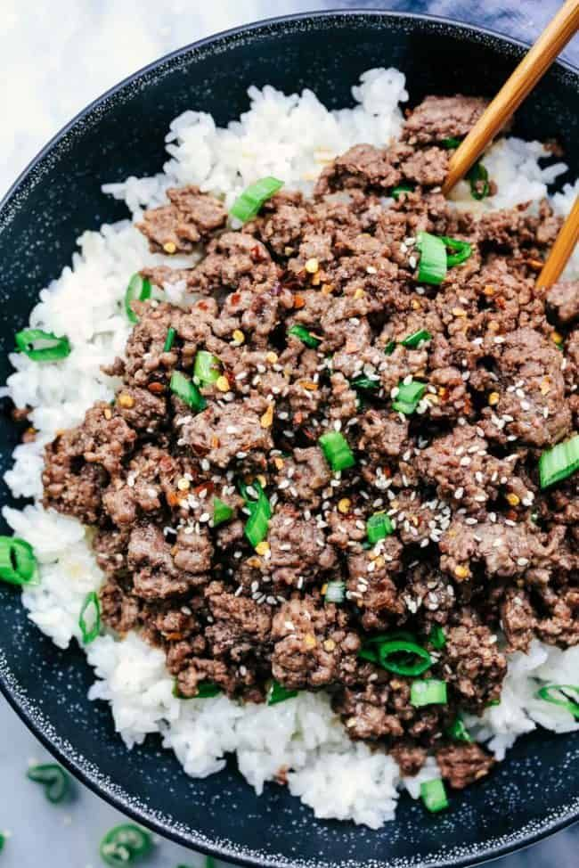 Korean Ground Beef and Rice Bowls | The Recipe Critic #groundbeefrecipes