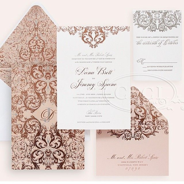 Gorgeous Rose Gold And Pewter Letterpress From Ceci New