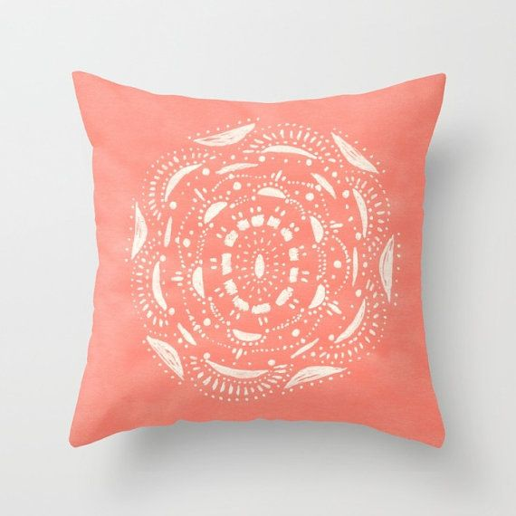 Coral Bohemian Throw Pillow Cover coral throw pillow dorm pillow