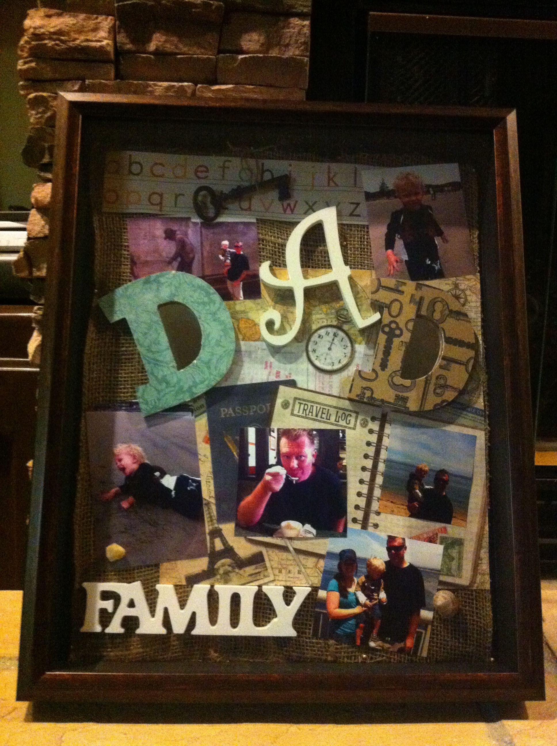 Decorative Shadow Box Father's Day Collage In A Shadow Box Frame Using Multimedia