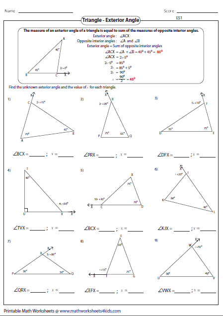 Missing Exterior Angles Triangle Worksheet Teaching Geometry Angles Worksheet