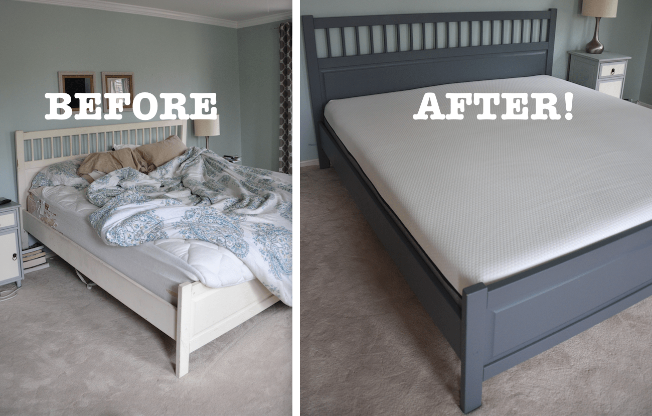 Before After My Pretty Master Bedroom Makeover Bed Makeover Ikea Bed Frames Ikea Bed