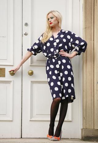 Vintage navy blue shirt dress with polka dots  £26