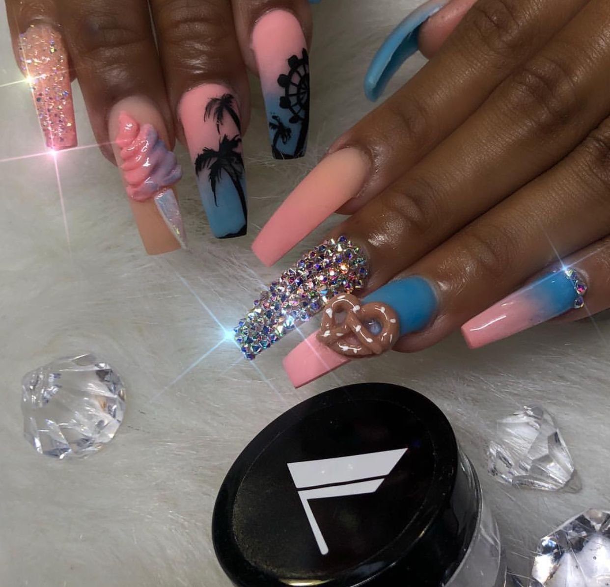 ❤ These nails are too cute! | bling nails | ghetto nail art | long ...
