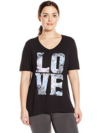 da8f19d52900bc Just My Size Women s Plus-Size Printed Short-Sleeve V-Neck T-Shirt ...