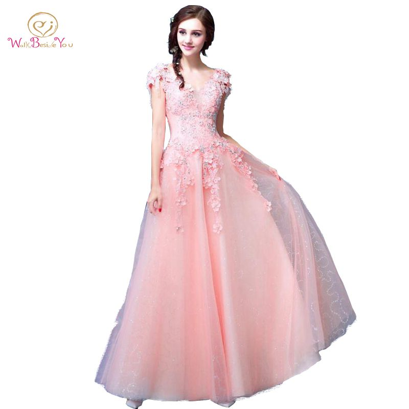 Click to Buy << Blush Pink Prom Dresses A-line Lace Beaded Crystal ...