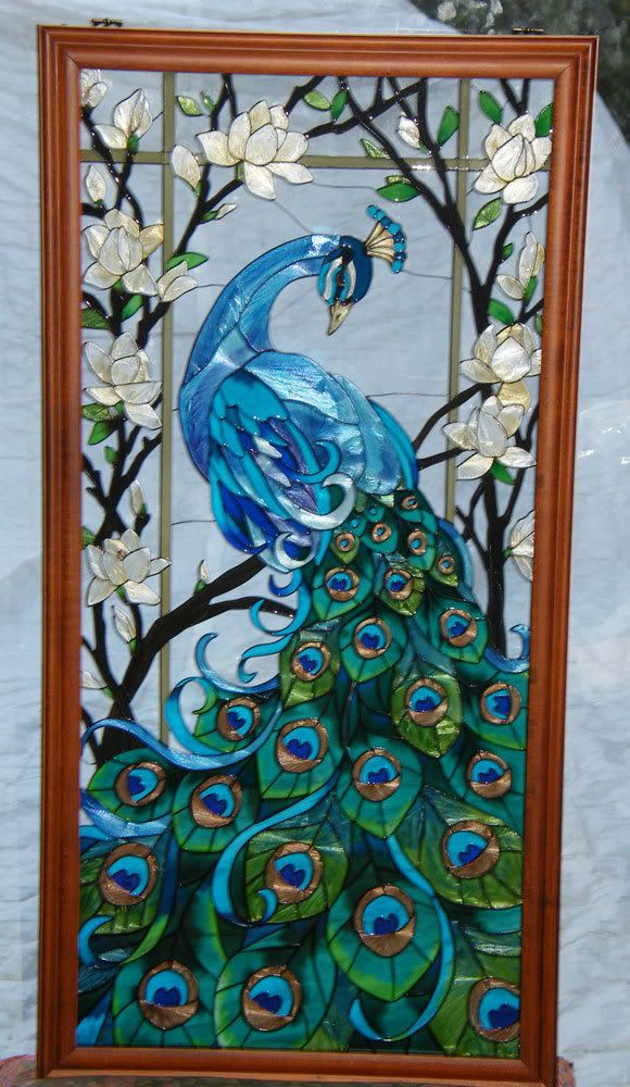 Magnificent peacock 17x37 stained glass window panel for Window panel design