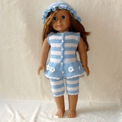 PDF Crochet Pattern - Tights, Top and Hat to American Girl Doll or ...
