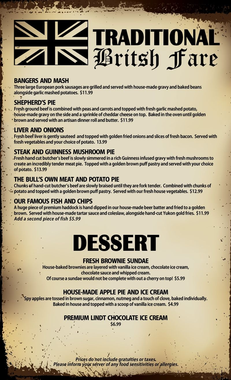 British pub menu google search pub menus ideas for Irish menu templates