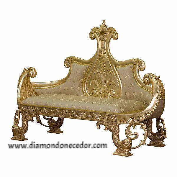 elegantly baroque ornate rococo wedding stage victorian sleigh boat sofa