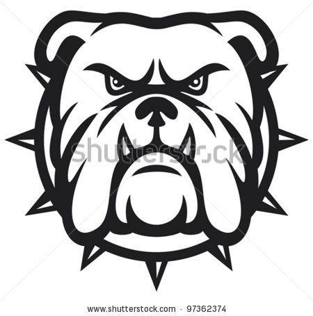 stock vector : bulldog head (angry bulldog, bulldog vector