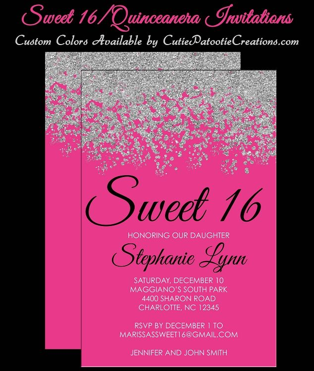 hot pink and silver sweet 16 invitations - quinceanera invitation, Birthday invitations