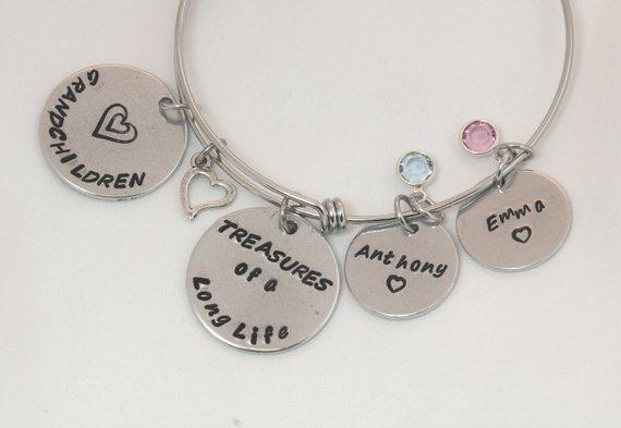 Birthstone Bracelet Charms Grandma Gift Grandchildren Gifts Again