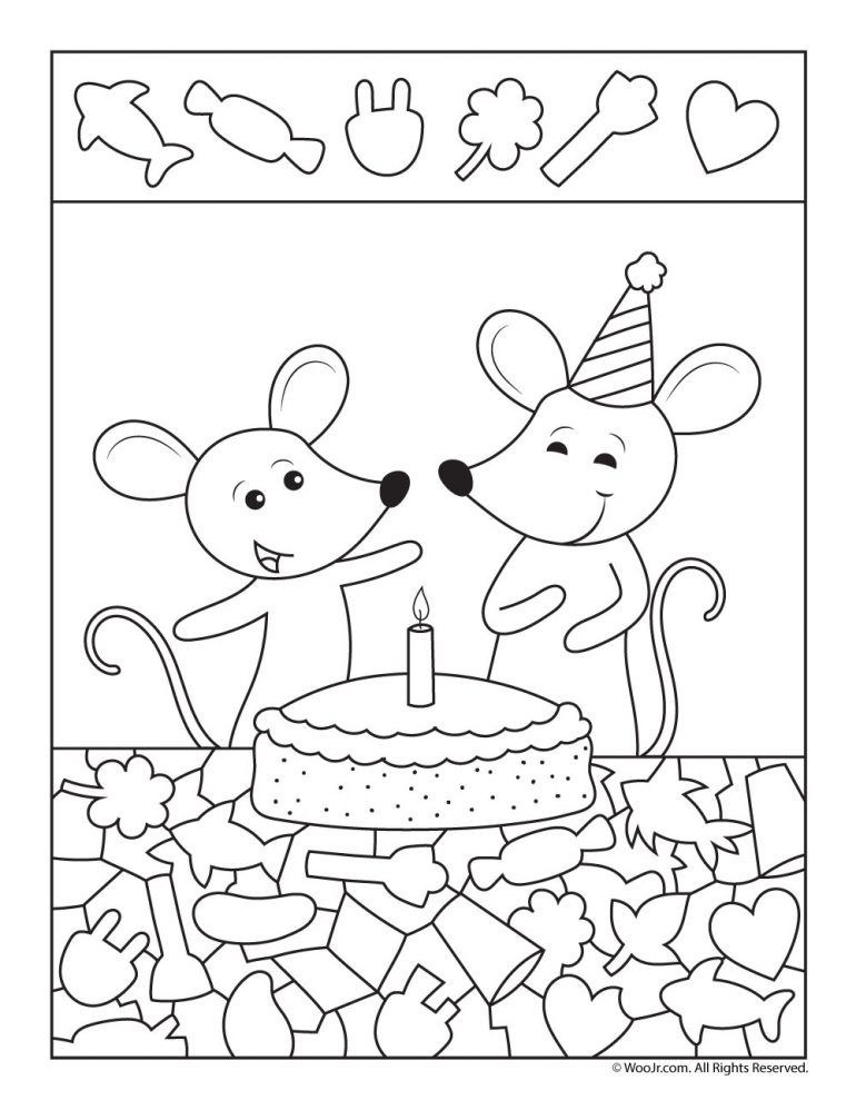 Birthday Cake Hidden Picture Party Printable Woo Jr Kids Activities Hidden Picture Puzzles Hidden Pictures Picture Puzzles