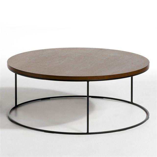 Table basse Maylis AM.PM : prix, avis & notation, livraison. Table basse ronde. Structure métal époxy noir mat. Plateau MDF, plaquage noyer. Ø90 x H.35 cm.