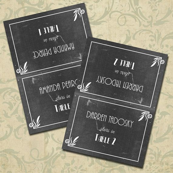 Hollywood Themed Decor Old Hollywood Party Place Cards Movie