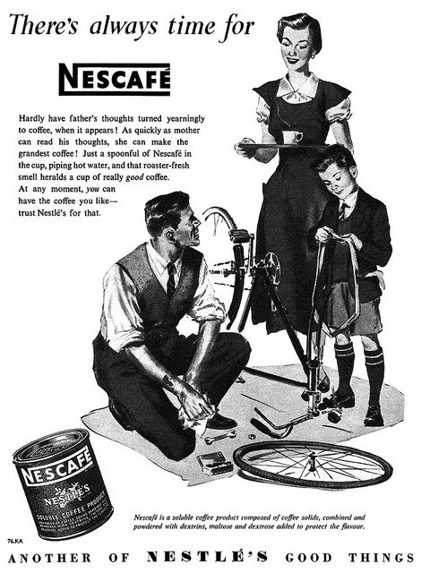 there s always time for nescafe love her dress layered over a short sleeved blouse like that vintage 1950s food ads