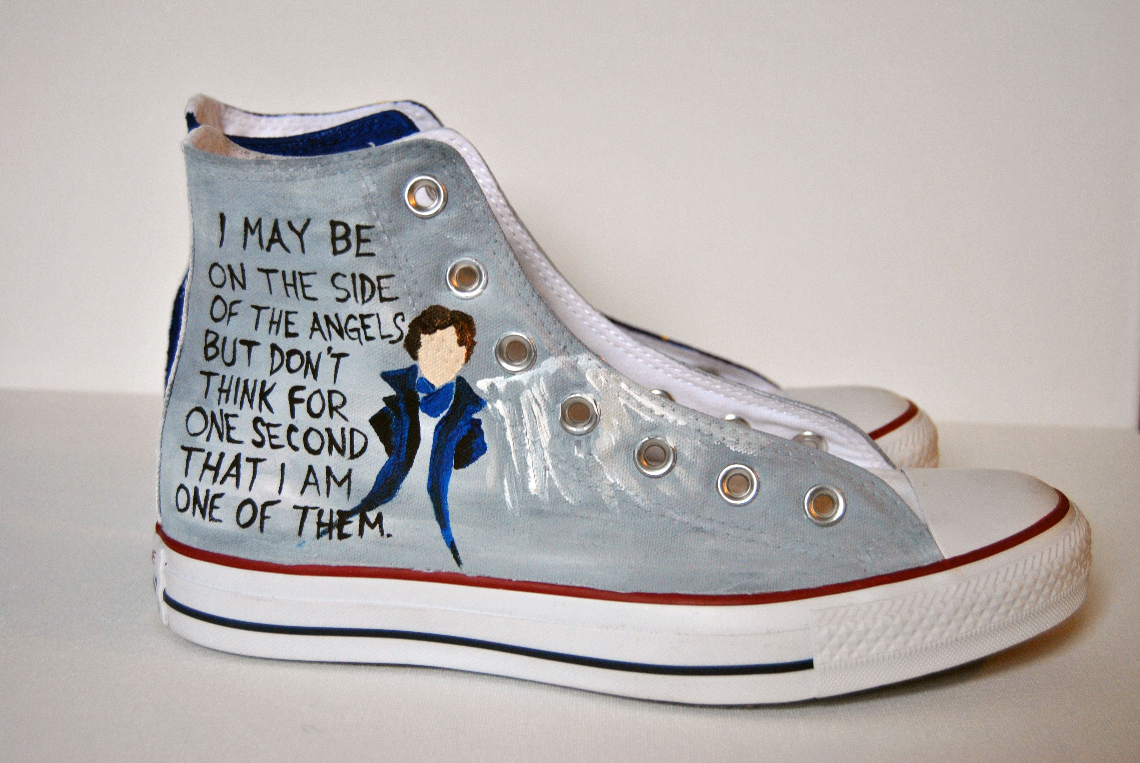 Hand Painted Sherlock Shoes! Custom Painted shoes painted by