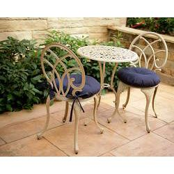 Navy Blue 17 Inch Round Indoor Outdoor Bistro Chair Cushion Set Of