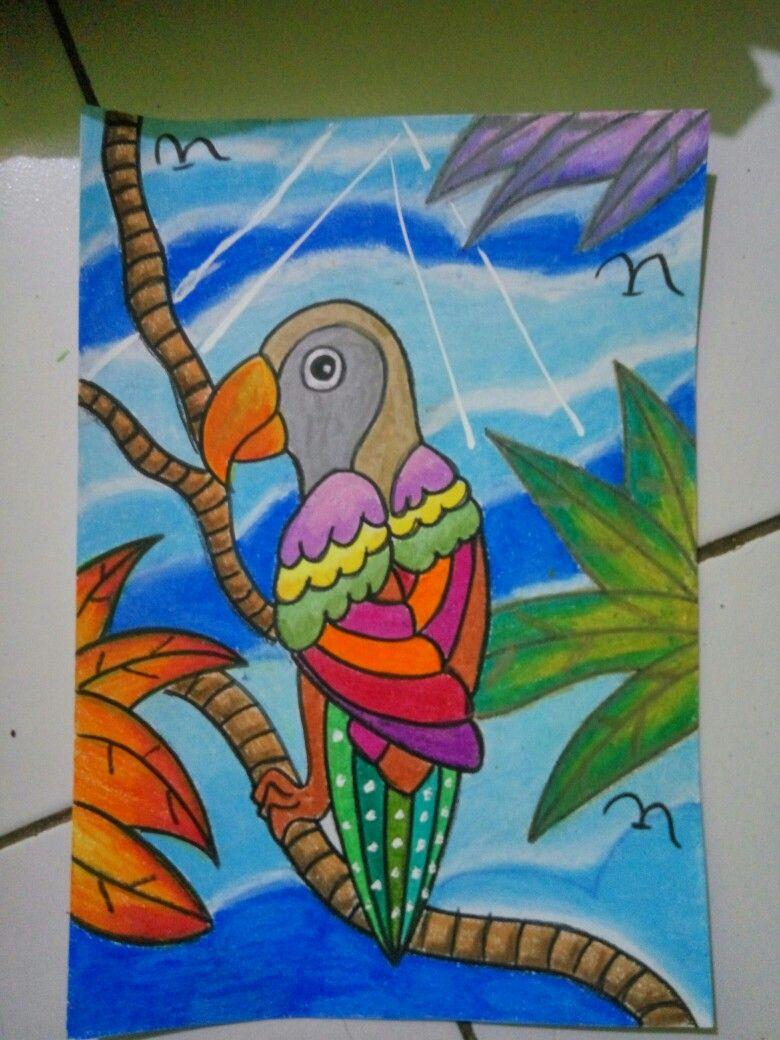 Mewarnai Gambar Burung Kakak Tua Gambaranak Krayon Konte