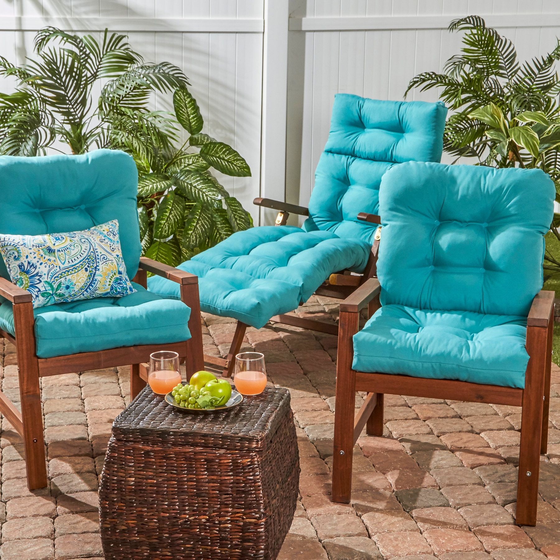 Outdoor Seat/Back Chair Cushion Set of 2 Outdoor seat
