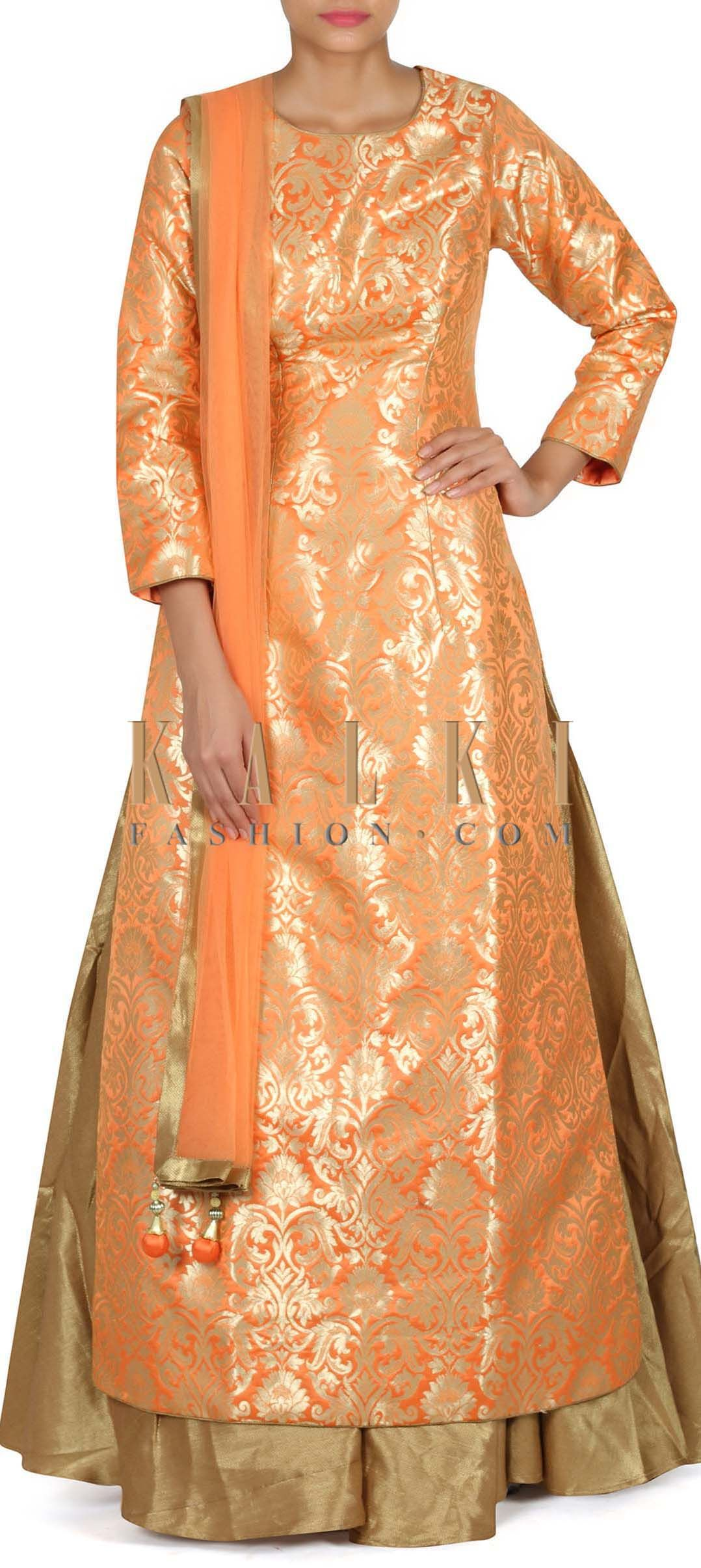 Buy This Orange Long Blouse With Gold Brocade Only On Kalki Dress