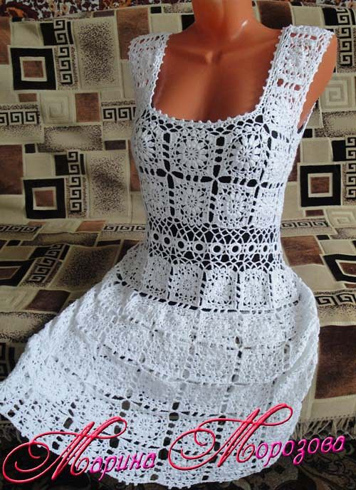 Vestidos tejidos a crochet para dama pinterest