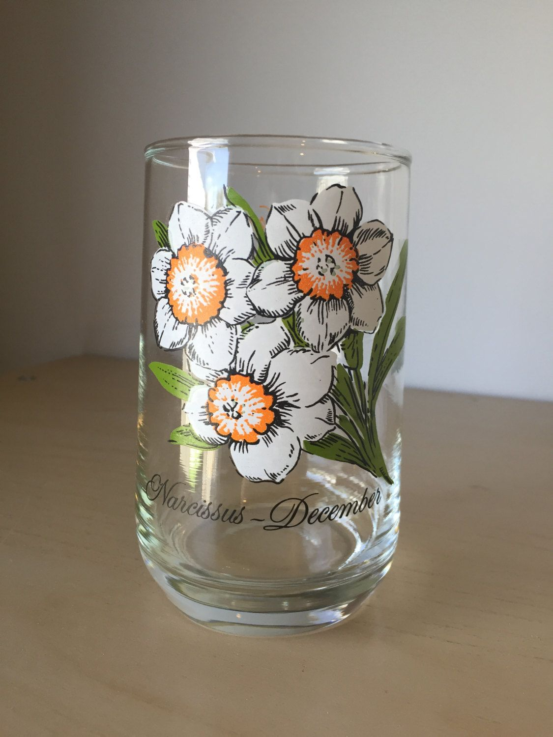 Vintage Drinking Glass, December Narcissus Flower of the