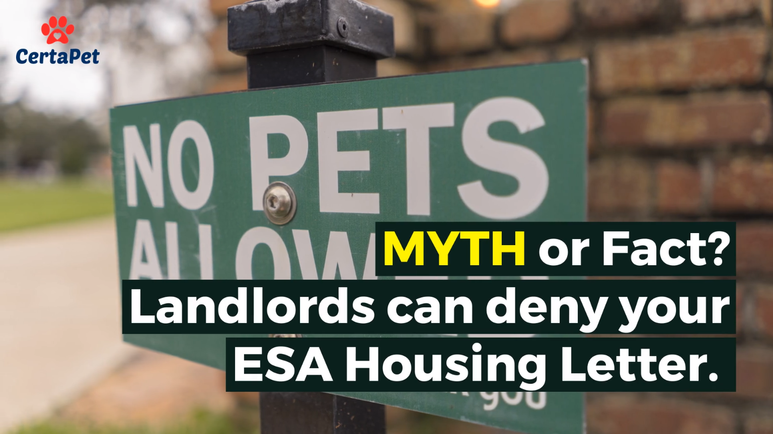 Did You Know Landlords Cannot Deny An Esa Housing Letter The Patient Is Protected By The Fair Housing Act Video Emotional Support Animal Emotional Support Certapet