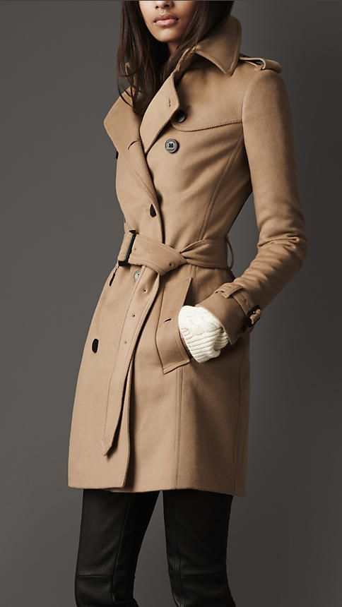 Women's Clothing - Burberry - Mid-Length Wool Cashmere Trench Coat ...
